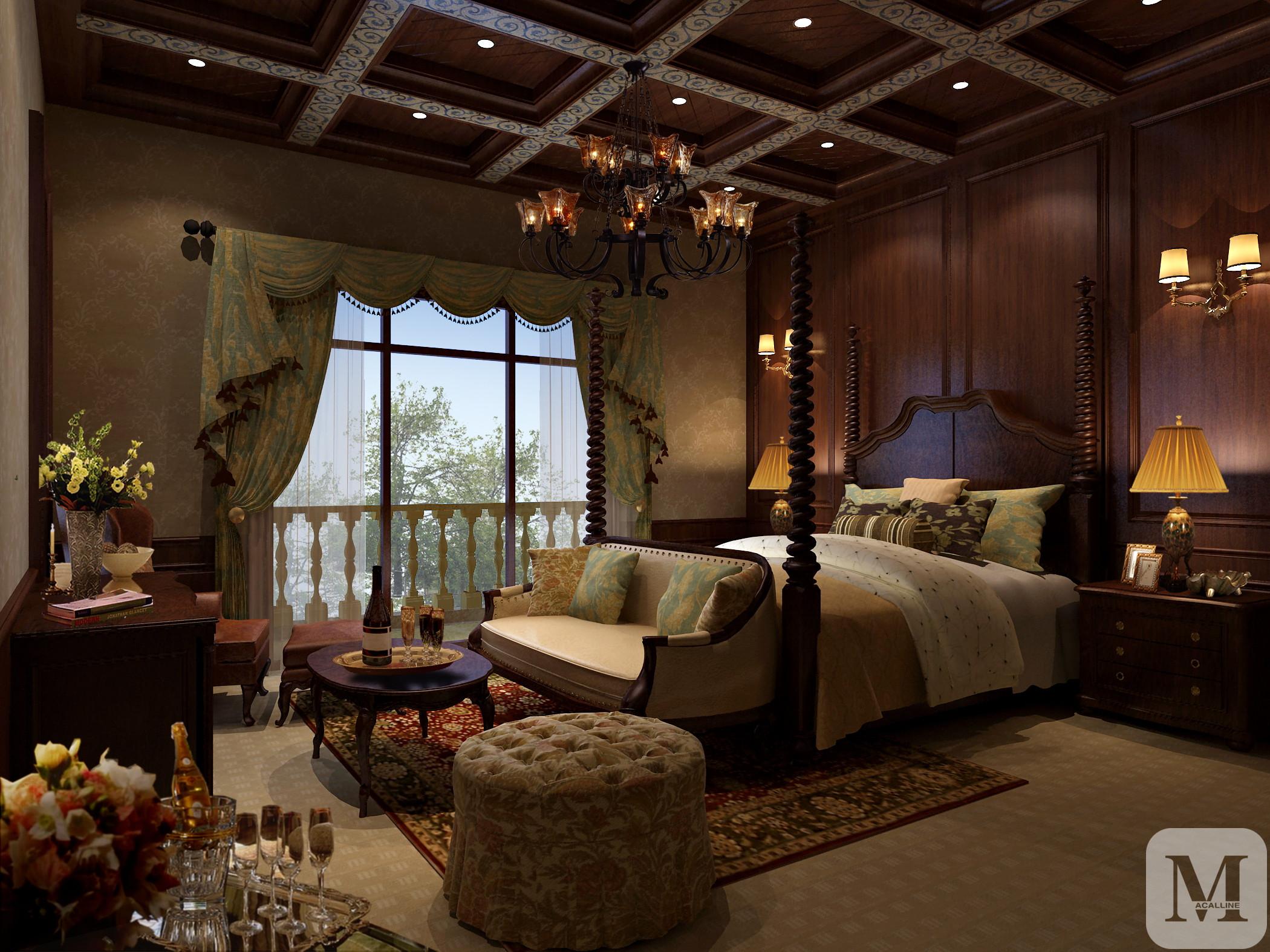 美式卧室窗帘装修效果图图片