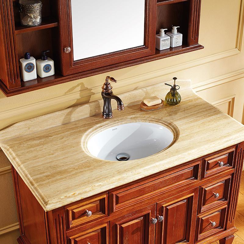 WOMA瑝玛美式进口橡木落地浴室柜组合卫生间大理石洗手盆订制