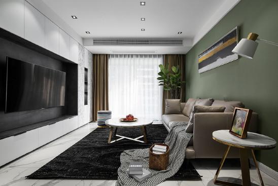 高级灰遇上草原绿,98平米现代简约三室