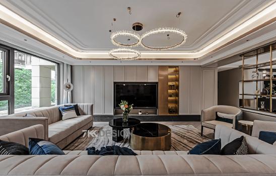 350㎡复式轻奢风三代人居住,超大客厅+梦幻楼梯+豪华衣帽间