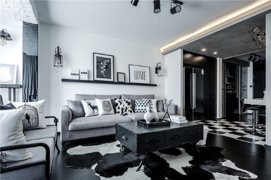 68㎡黑白灰工业风,炫酷又实用的小户型设计