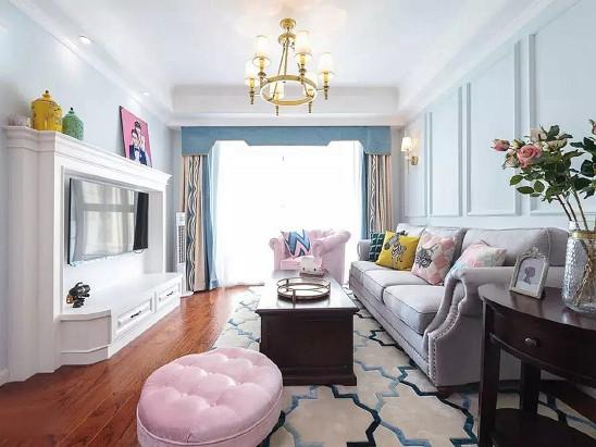 轻美式温馨二室,清新配色添情趣