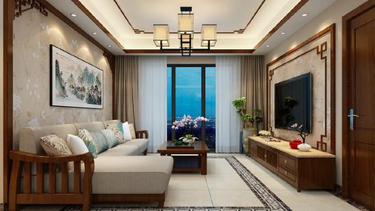 天下锦城120平简约中式风格设计案例