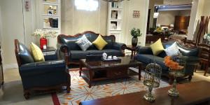 A家 三人位沙发 简美风格油蜡皮沙发三人位 遇见简美 S120-3