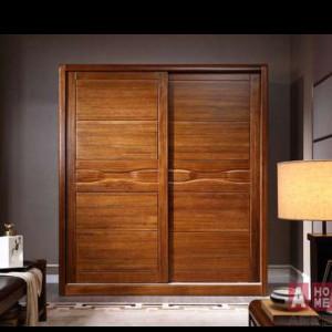 A家 趟门衣柜 中式实木衣柜 木色天香 F051