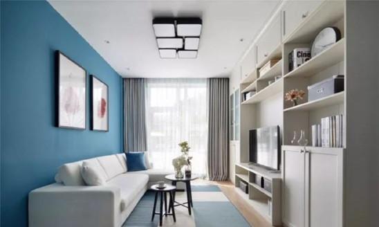 75㎡现代简约,端庄蓝色背景墙,安静优雅