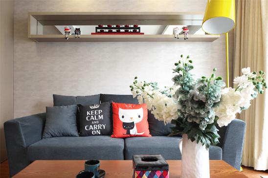 90㎡的两居室 石膏板电视背景墙有暗光灯