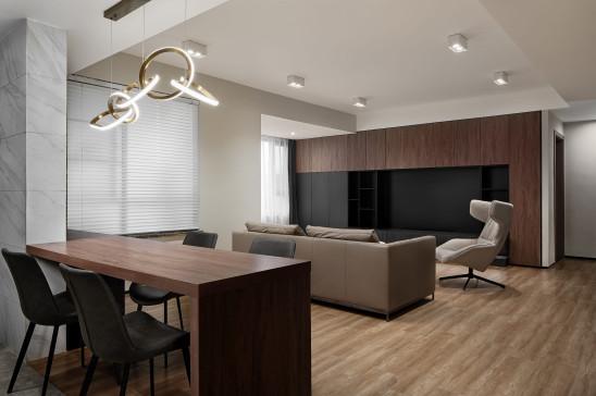 116㎡现代简约三室,全家都爱的LDK互动式大客厅